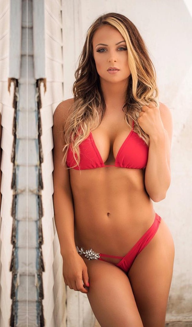 Tenille Dashwood Sexy Boobs Pictures on Red Bikini