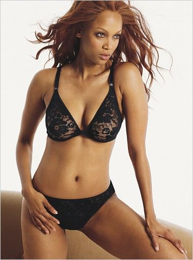 Tyra Banks Hot in Black Lingerie