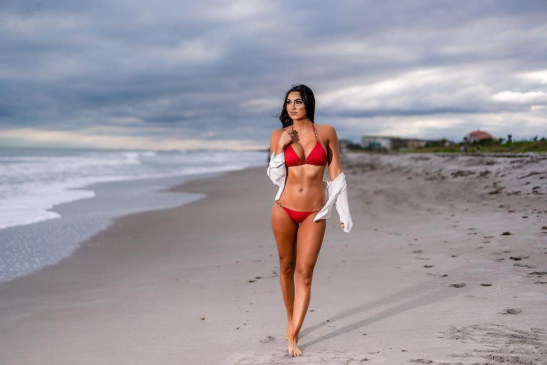 billie kay red bikini