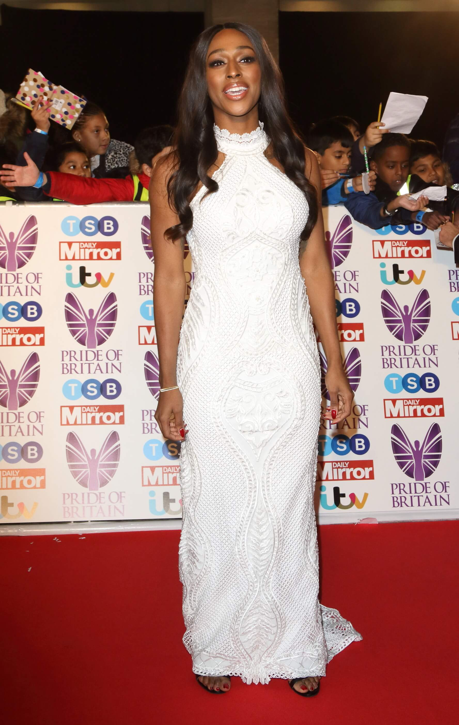 Alexandra Burke long white dress pic
