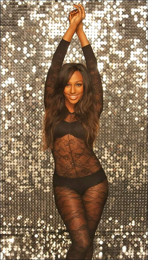 Alexandra Burke sexy black dress