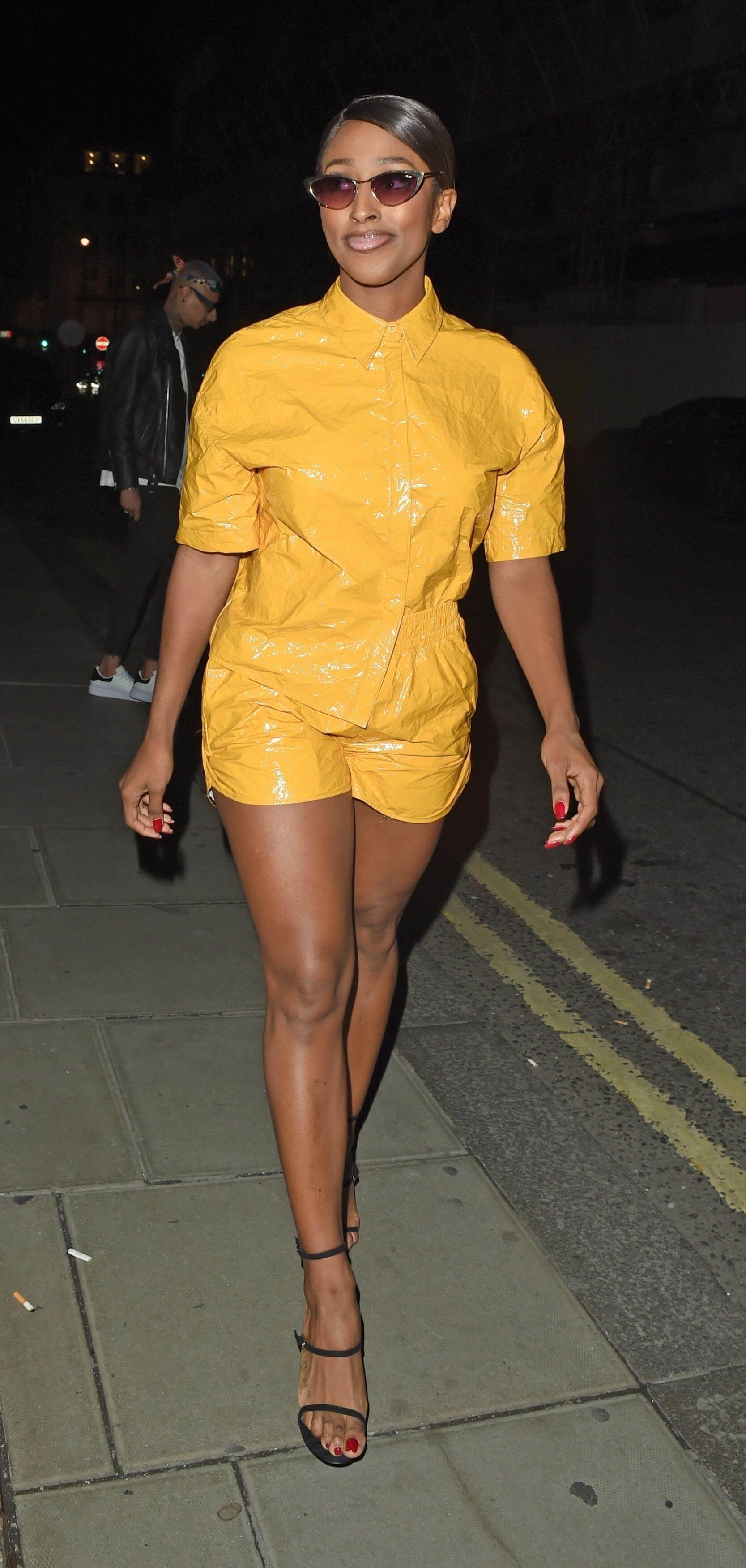 Alexandra Burke sexy yellow dress