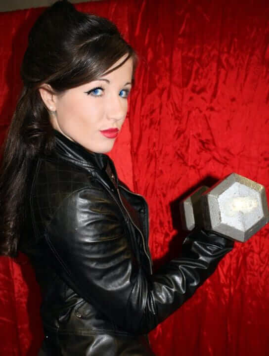 Angela Magana sexy black jacket
