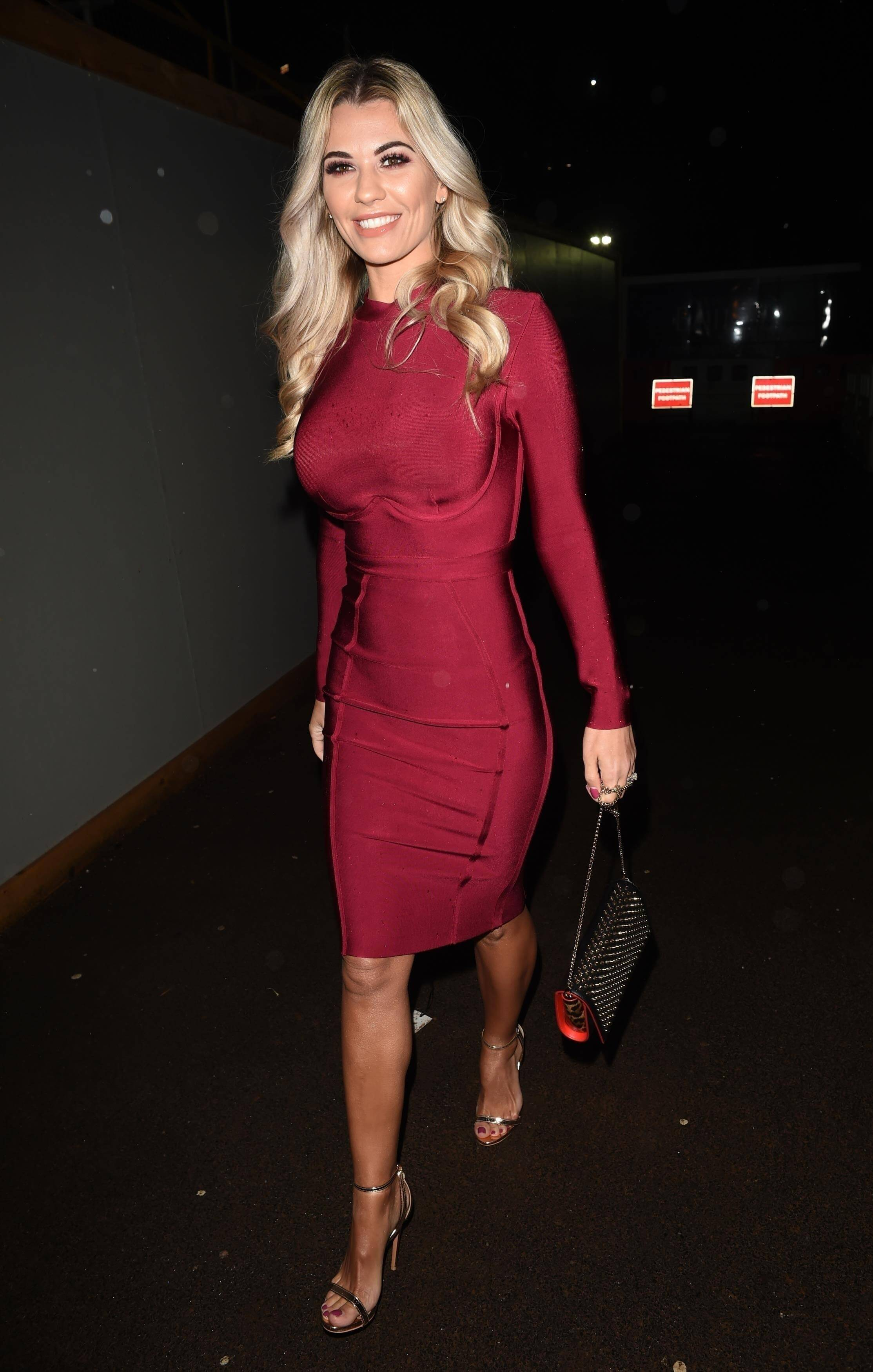 Christine McGuinness sexy long red dress pic