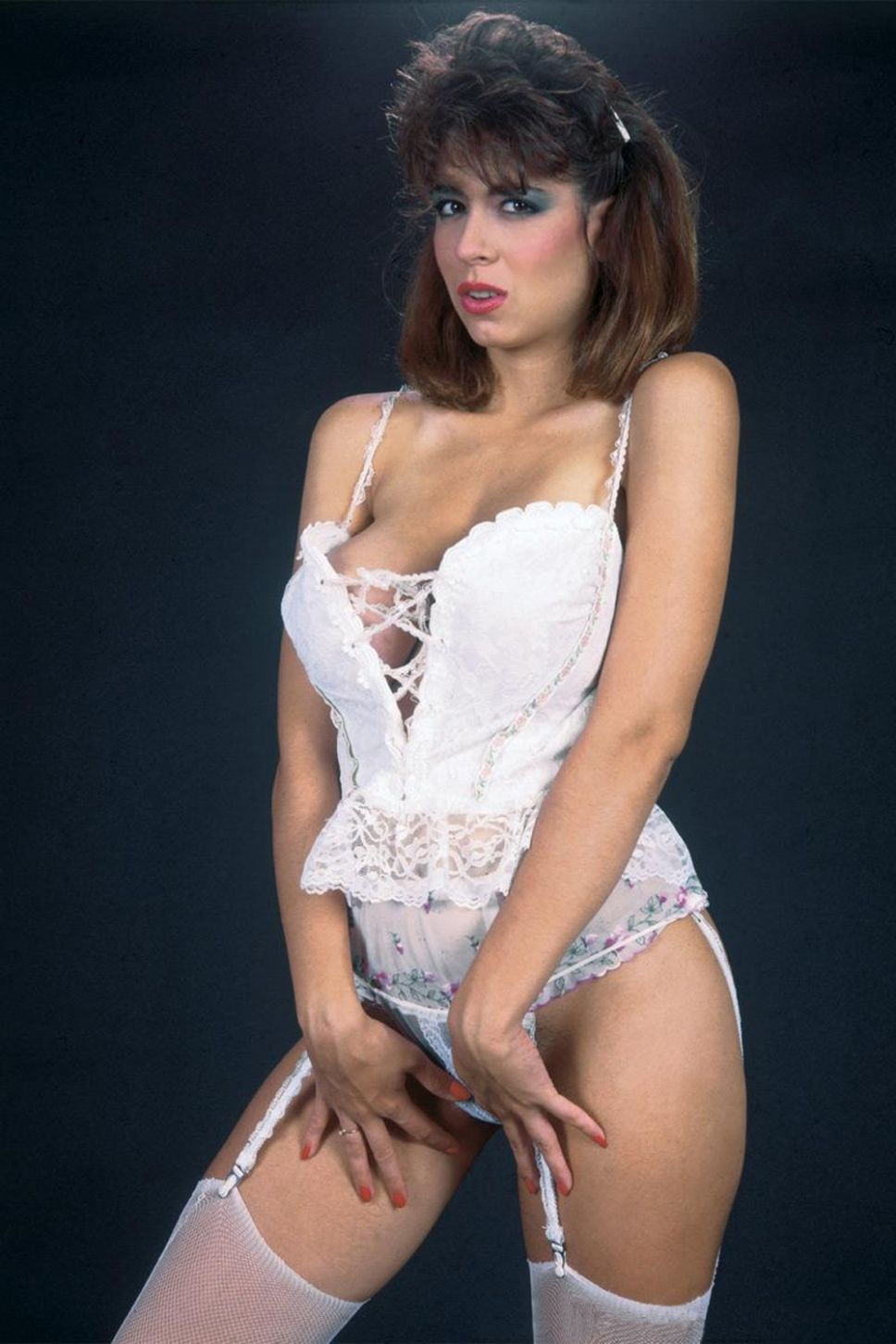 Christy Canyon Hot in White Lingerei