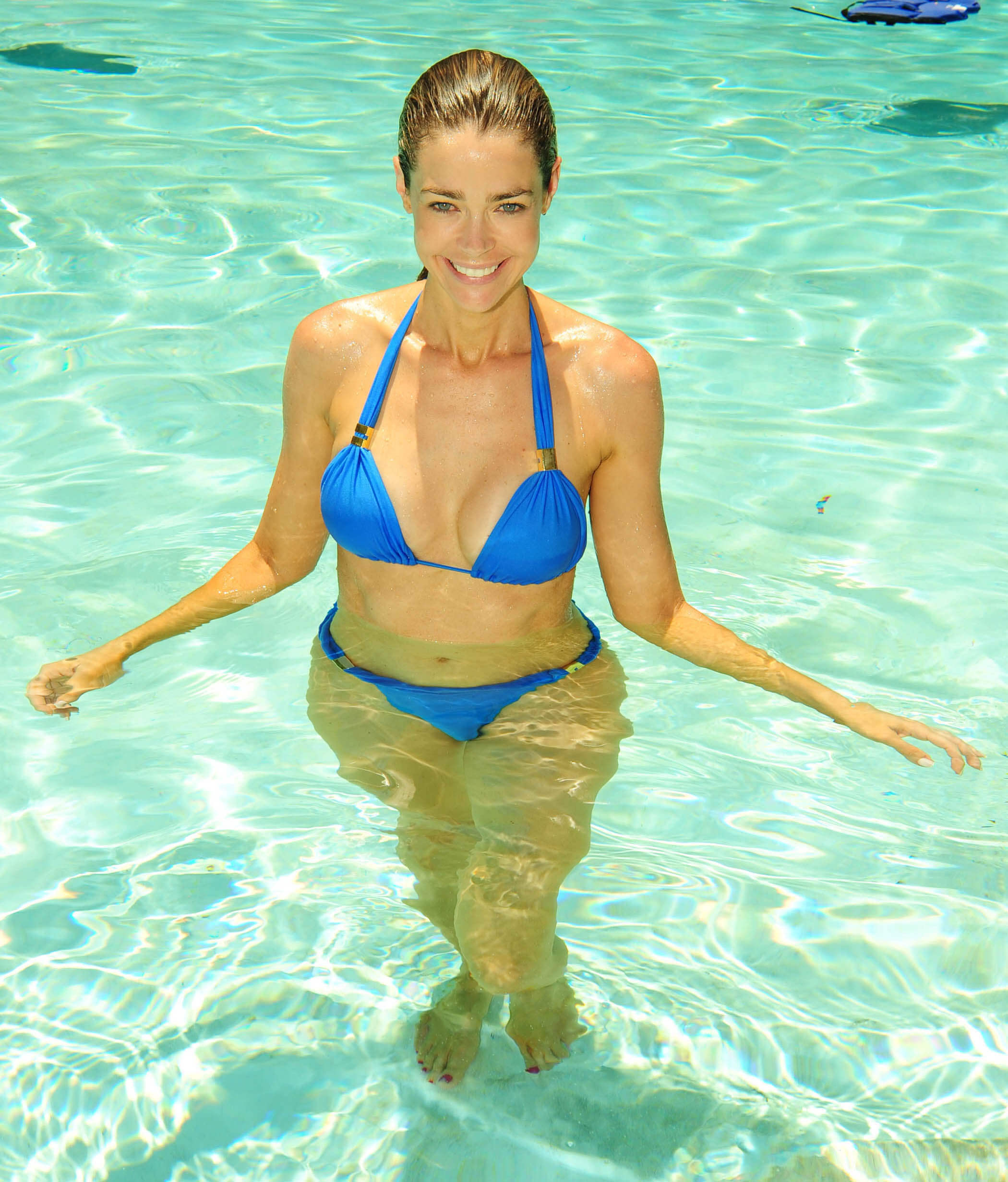 Denise richards Hot in Blue Lingerie