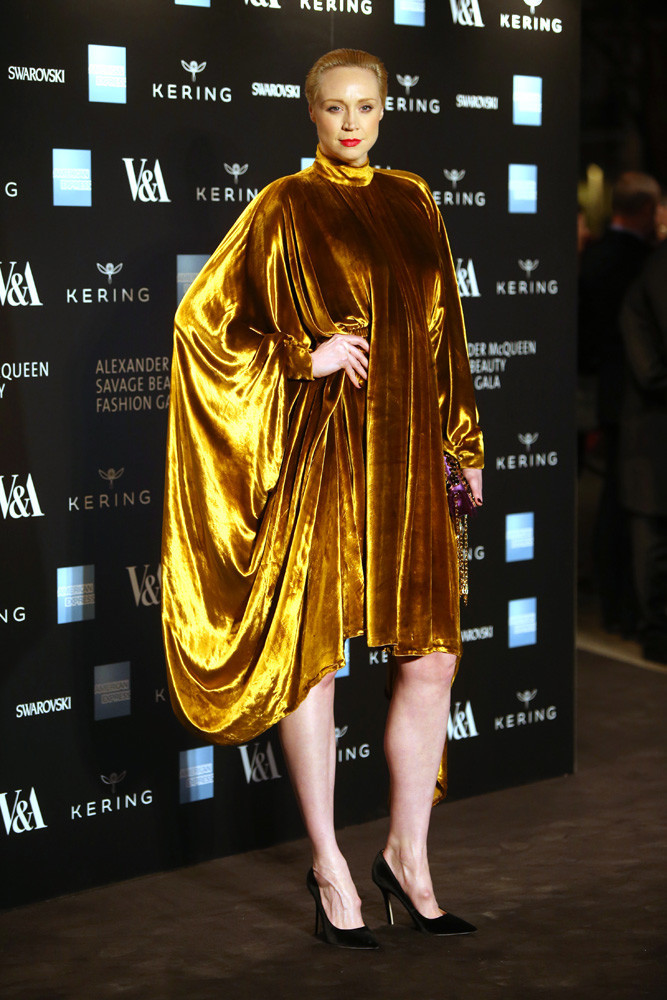 Gwendoline Christie Hot in Golden Dress
