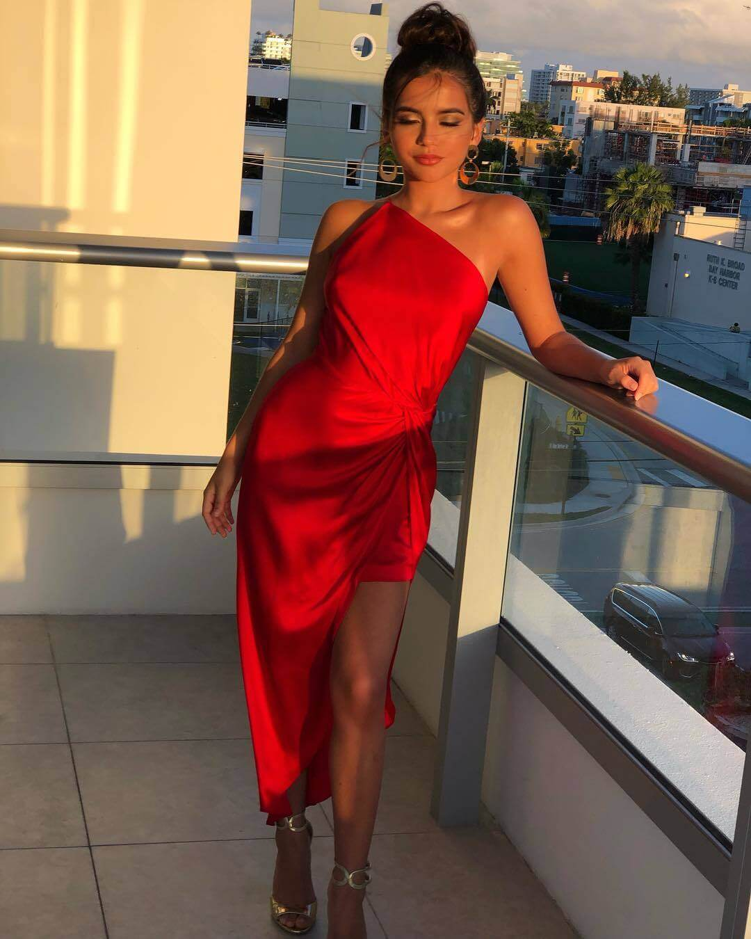 Isabela Moner sexy long red dress