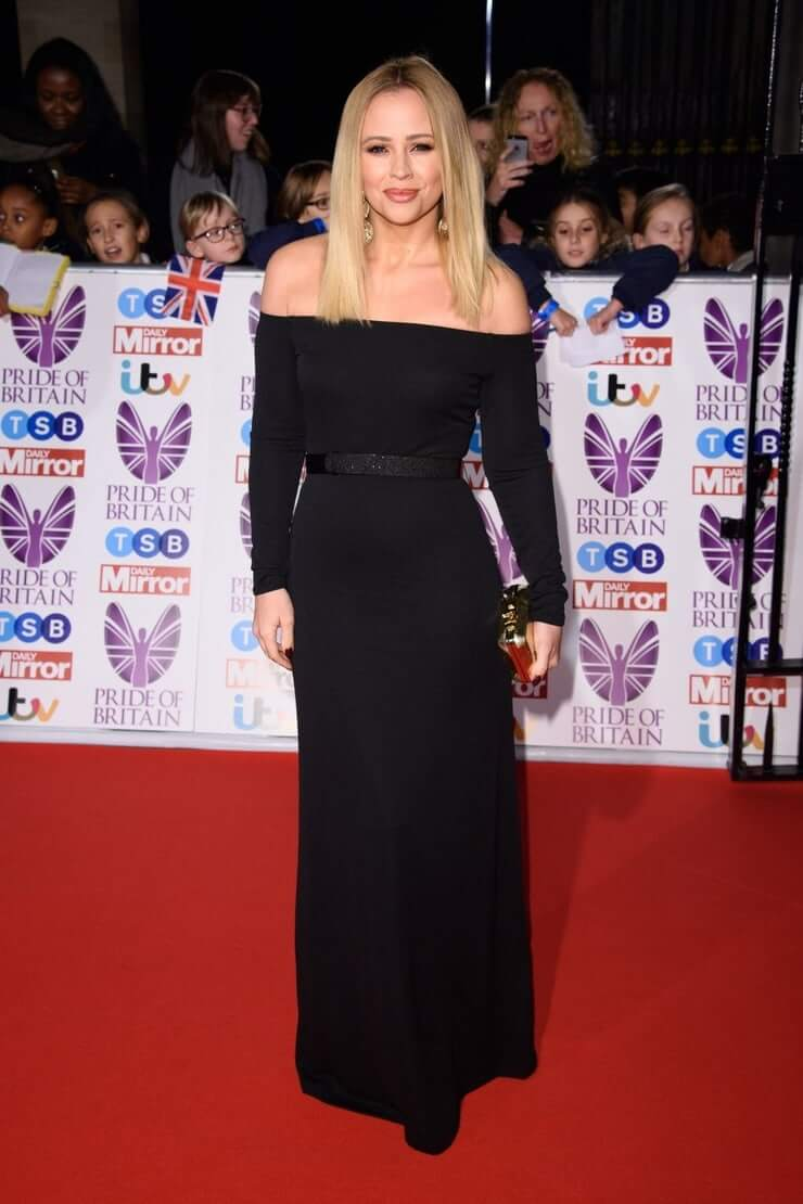 Kimberley Walsh hot long black dress
