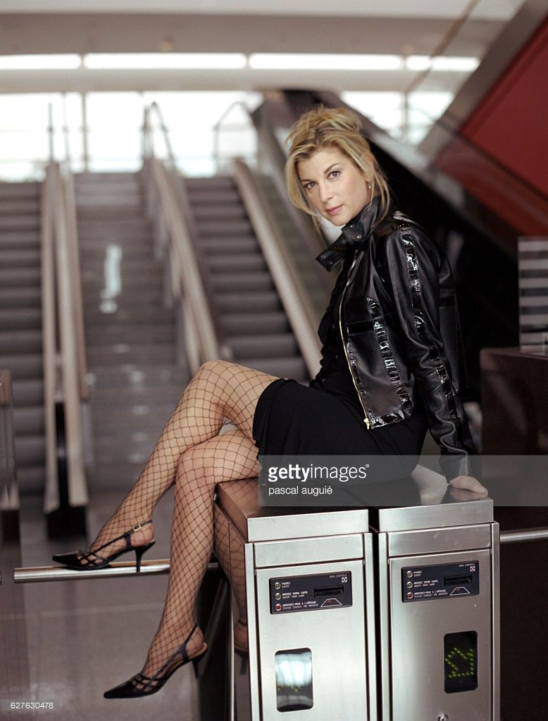 Michele Laroque Hot in Leather Jacket