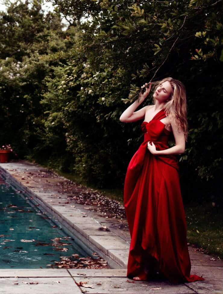 Brit Marling long red dress