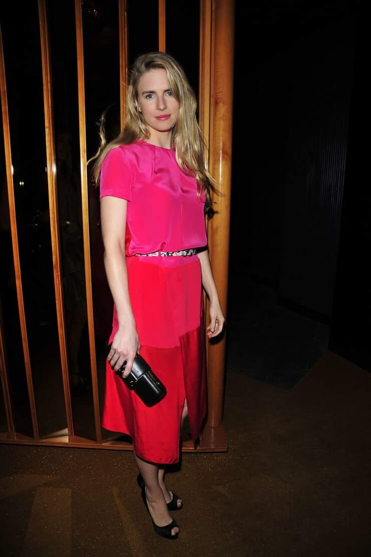 Brit Marling sexy pink dress
