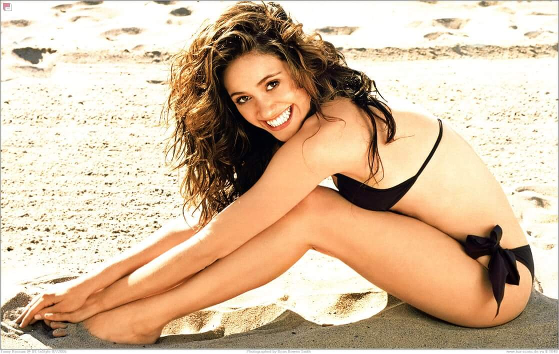 Emmy Rossum beach black bikini photoshoot