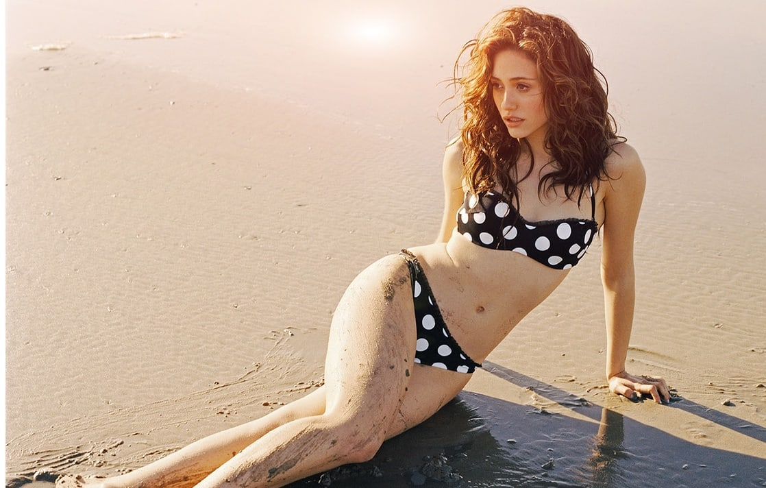 Emmy Rossum hot black dotted bikini