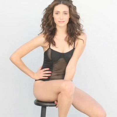 Emmy Rossum stool pose