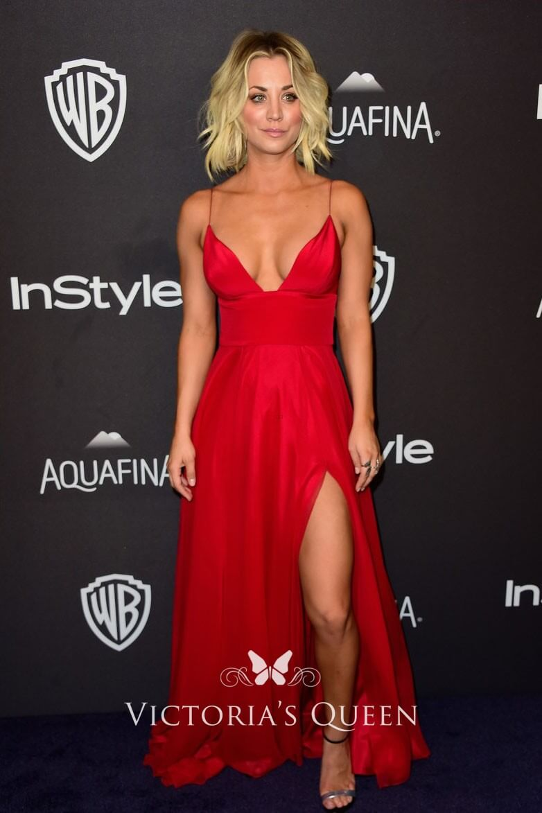 Kaley Cuoco red long dress