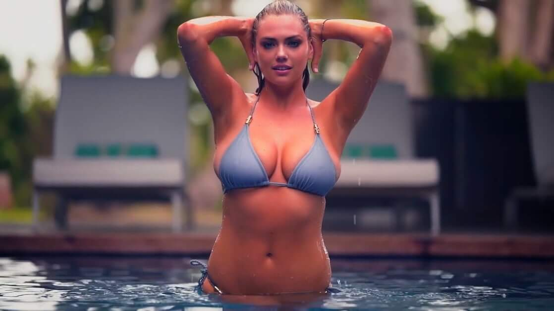 Kate Upton blue bra