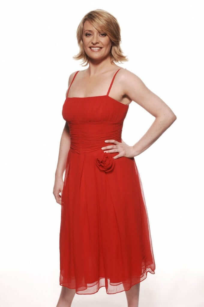 Laurie Brett sexy red dress