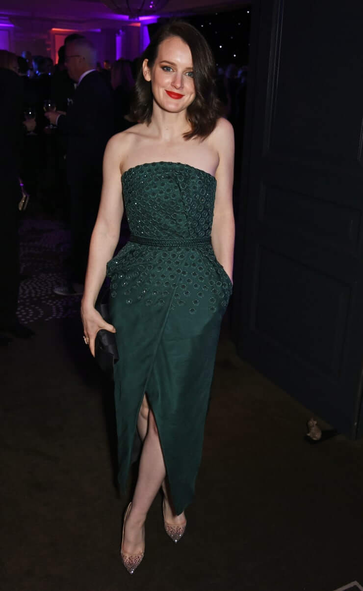 Sophie McShera long green dress