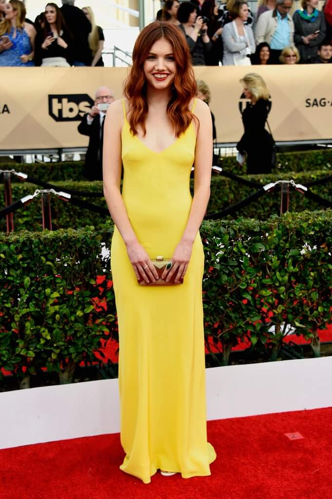 hannah murray long yellow dress pic