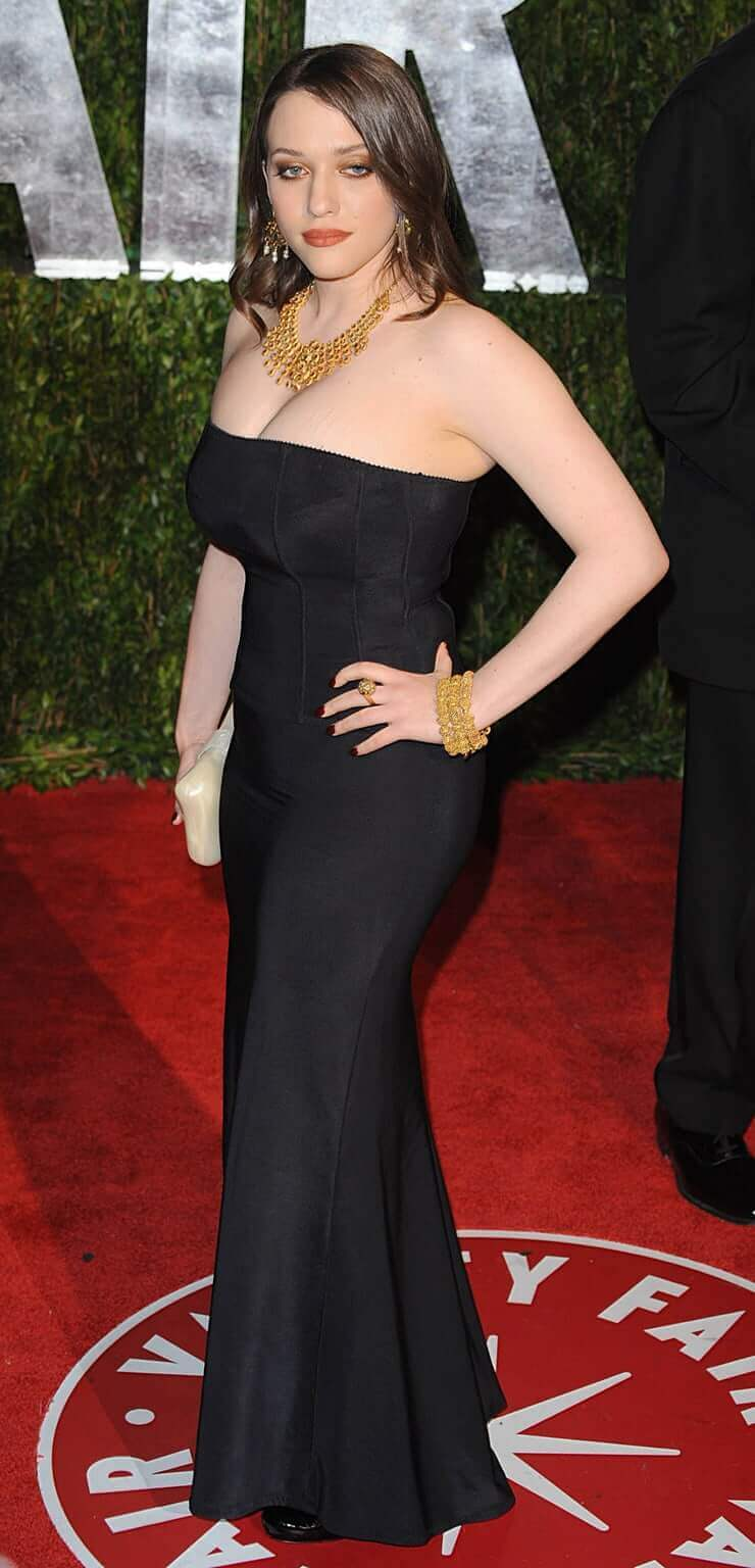kat dennings long black dress (2)
