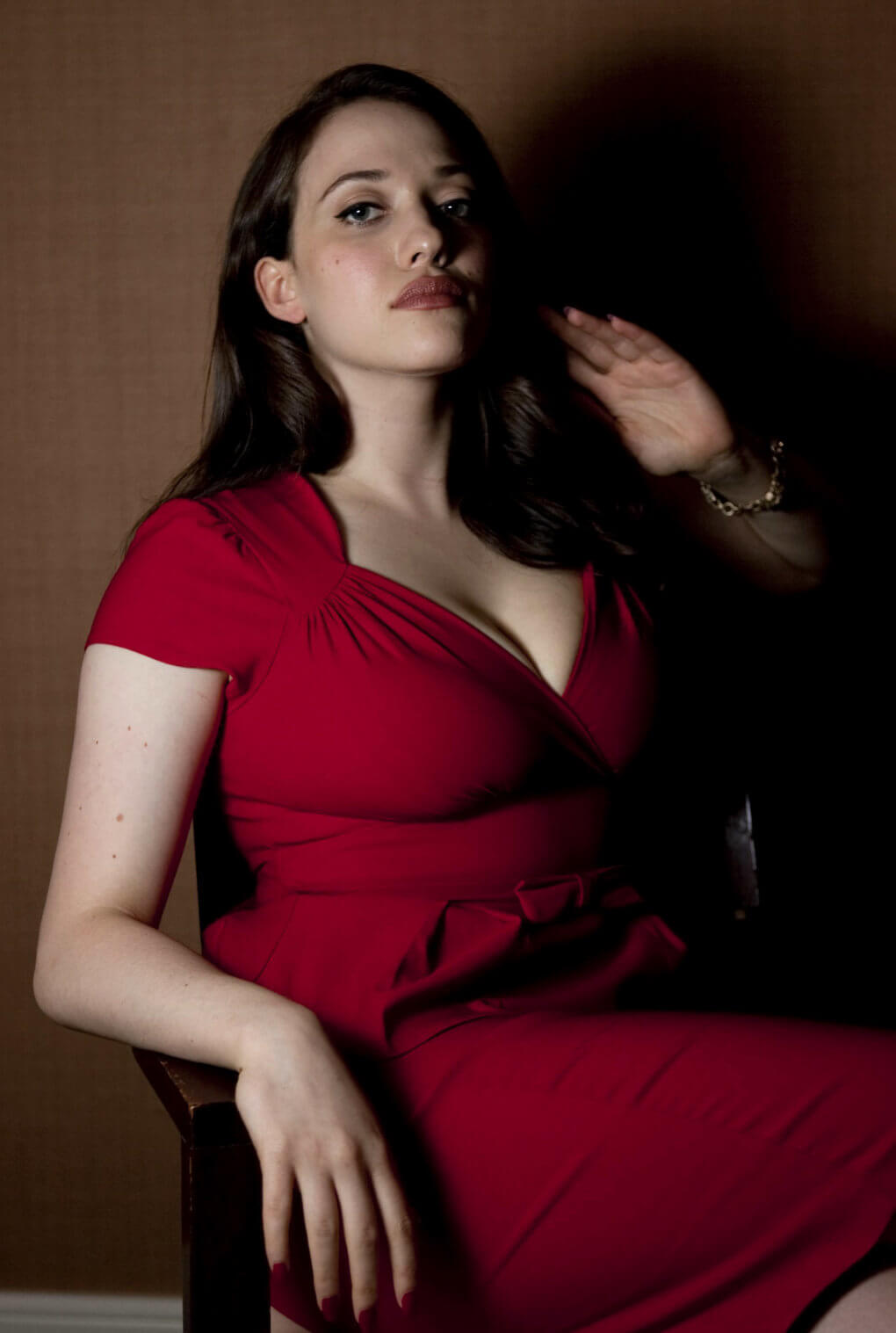 kat dennings long red dress