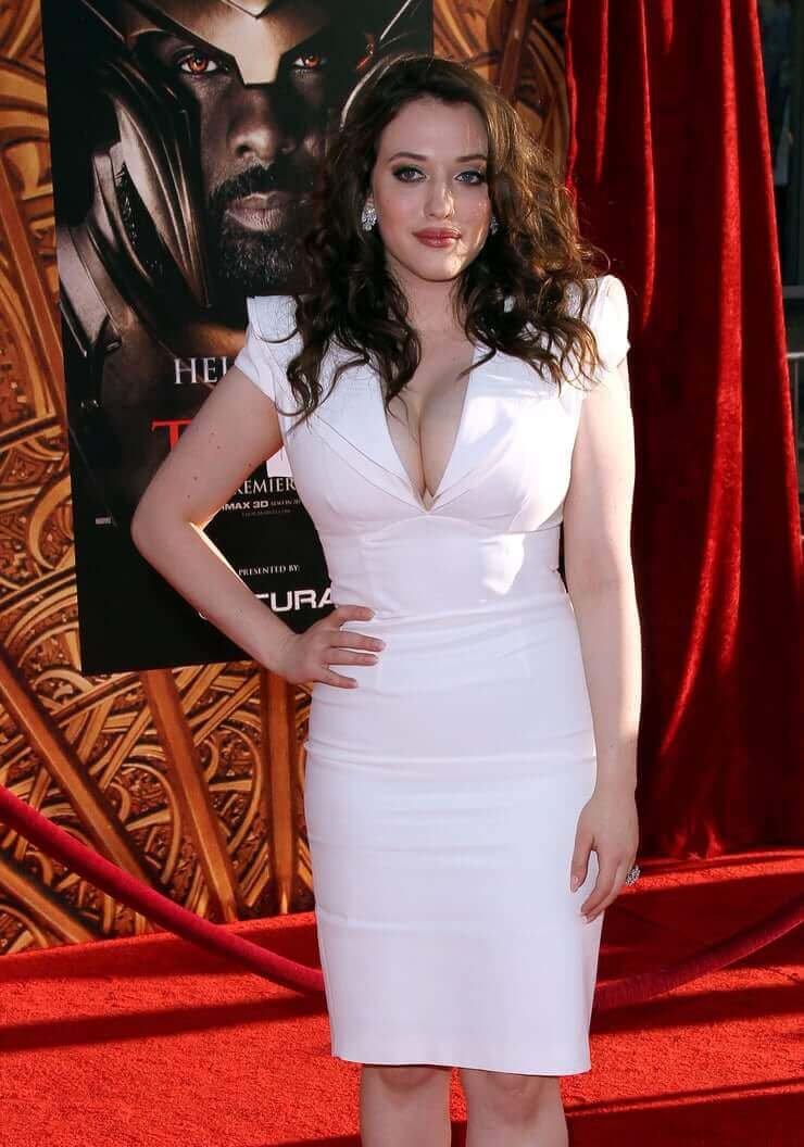 kat dennings sexy white dress