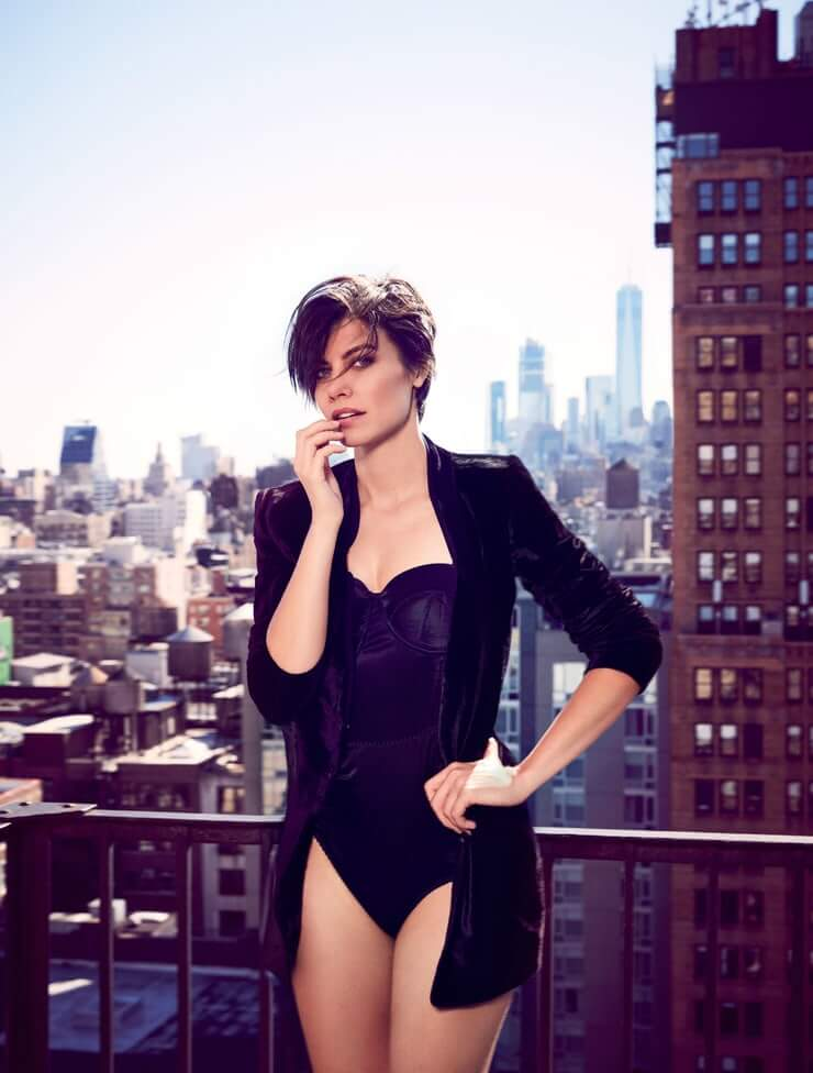 lauren cohan sexy black look