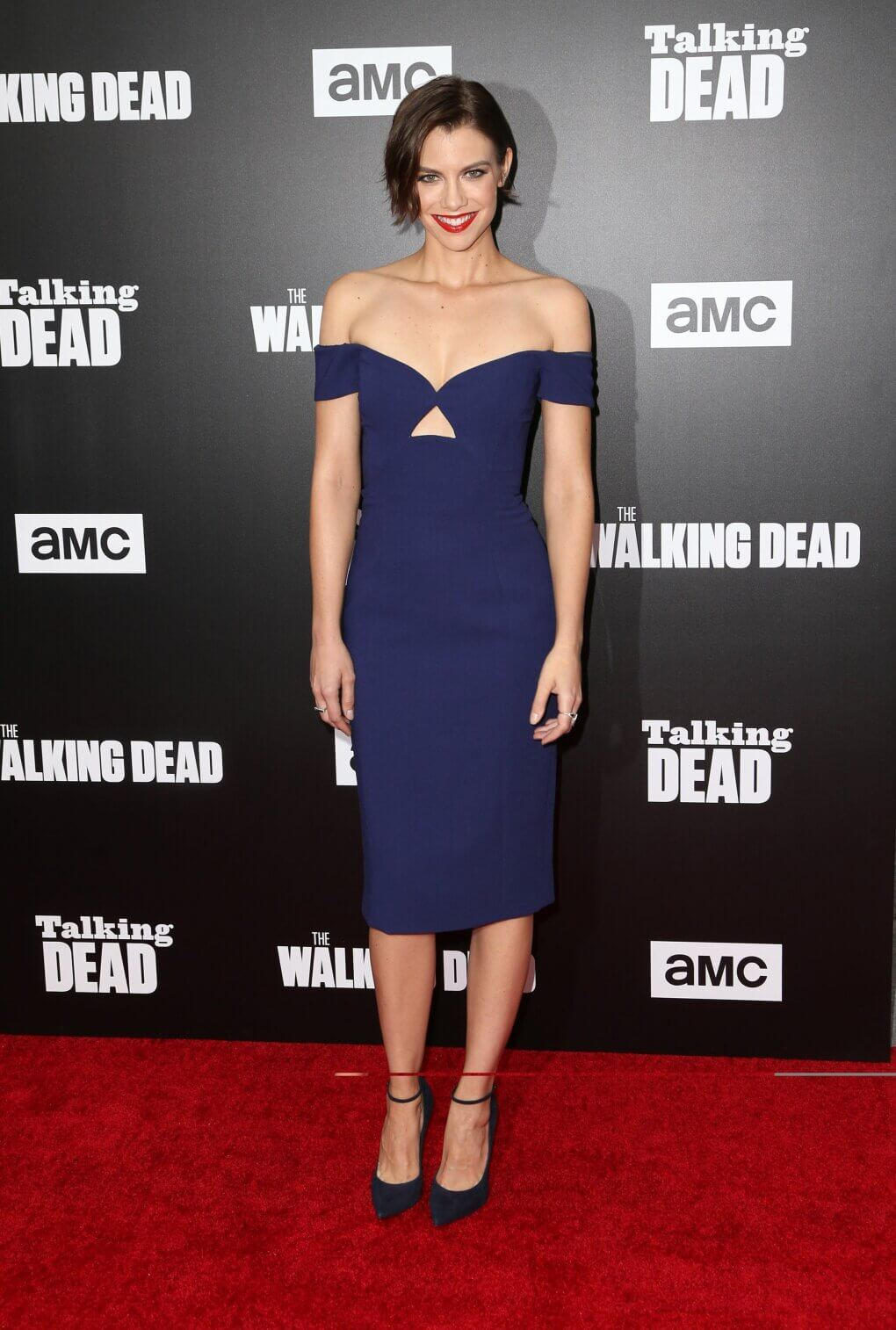 lauren cohan sexy blue dress