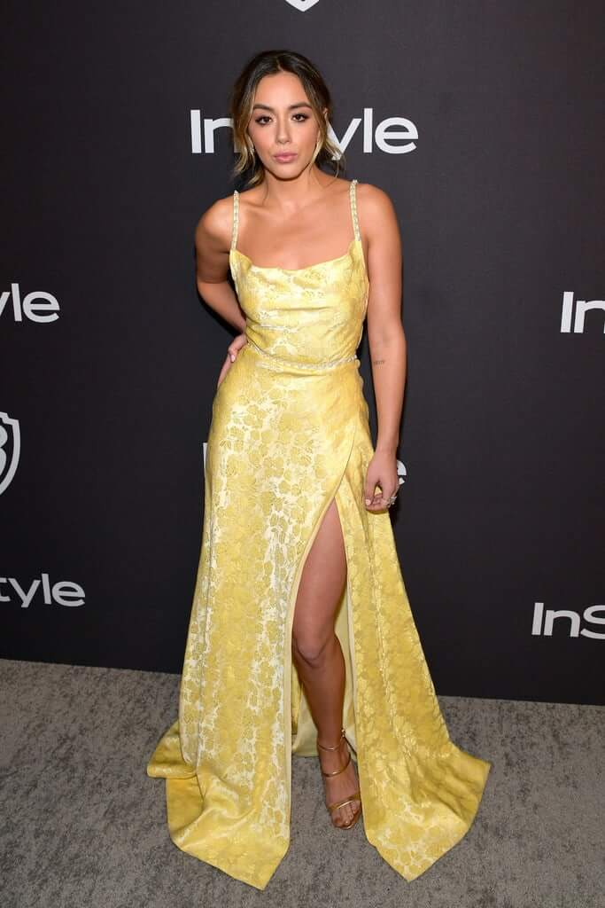 chloe bennet sexy yellow dres pic