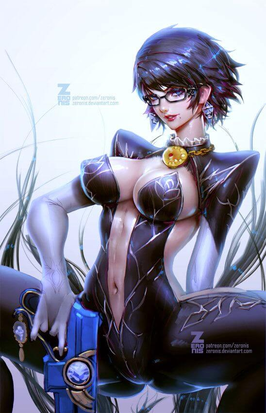 Bayonetta big boobs cleavage