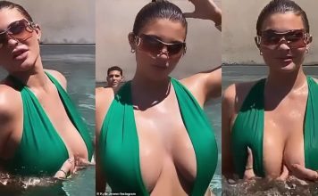 Kylie Jenner was looking sizzling hot in the revealing swimsuit